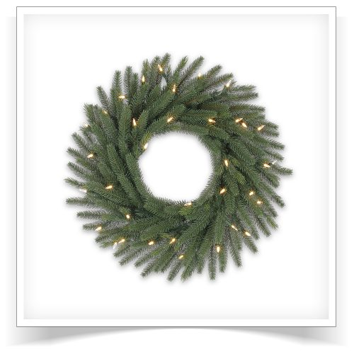 24″ Prelit Sadie Fir Artificial Christmas Wreath with Clear LED Lights by Treetopia