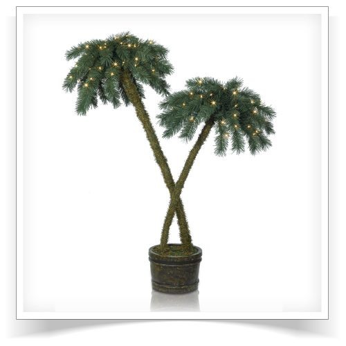 5′ Prelit Beachside Potted Palm Trees with Clear Lights by Treetopia