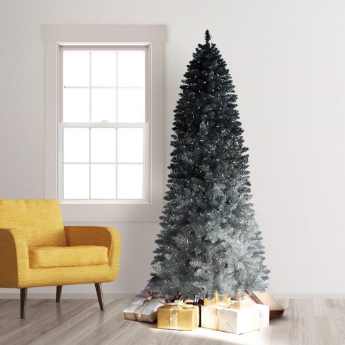 9′ Prelit Silver Shadow Ombre Artificial Christmas Tree with Clear LED Lights by Treetopia