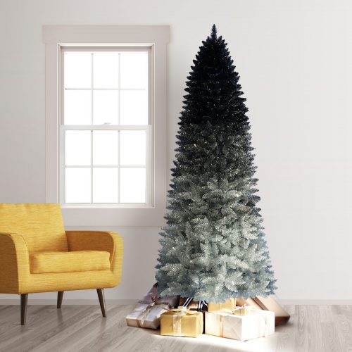 9′ Unlit Silver Shadow Ombre Artificial Christmas Tree by Treetopia