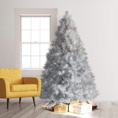 7.5′ Prelit Silver Stardust Tinsel Artificial Christmas Tree with Clear Lights by Treetopia