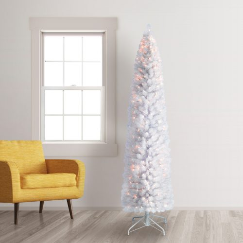 7′ Prelit Skim Milk White Pencil Artificial Christmas Tree with Clear Lights by Treetopia