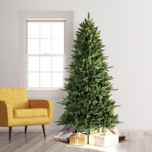 8′ Prelit Slim Spruce Artificial Christmas Tree with Clear Lights by Treetopia