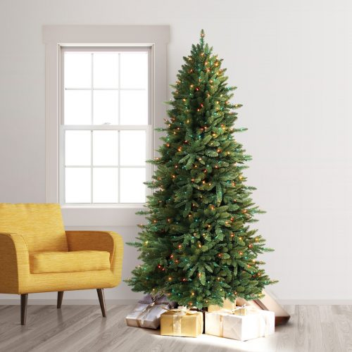10′ Prelit Slim Spruce Artificial Christmas Tree with Multi Lights by Treetopia