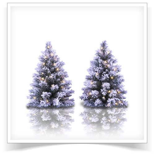 2-pack of 2′ Prelit Snow Capped Mini Flocked Trees with Clear Lights by Treetopia