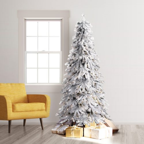 7.5′ Prelit Snowy Spruce Flocked Artificial Christmas Tree with Clear Lights by Treetopia