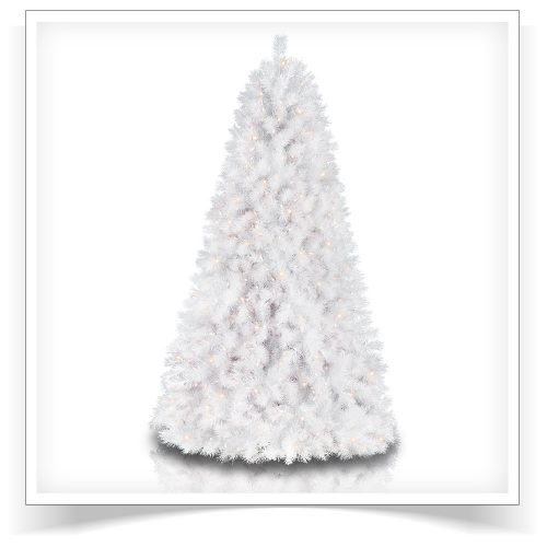 7.5′ Prelit Sparkling White Artificial Christmas Tree with Clear Lights by Treetopia