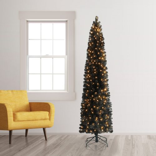 7′ Prelit Stiletto Black Pencil Artificial Christmas Tree with Clear Lights by Treetopia