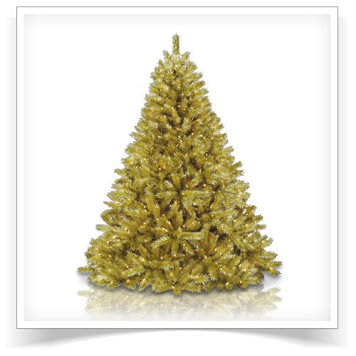 7.5′ Prelit Toasted Champagne Gold Tinsel Artificial Christmas Tree with Clear Lights by Treetopia