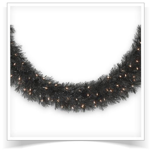 10′ Prelit Tuxedo Black Artificial Christmas Garland with Clear Lights by Treetopia