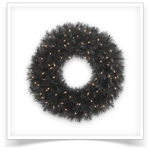 30″ Prelit Tuxedo Black Artificial Christmas Wreath with Clear Lights by Treetopia