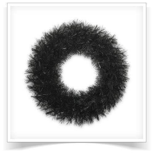 30″ Unlit Tuxedo Black Artificial Christmas Wreath by Treetopia