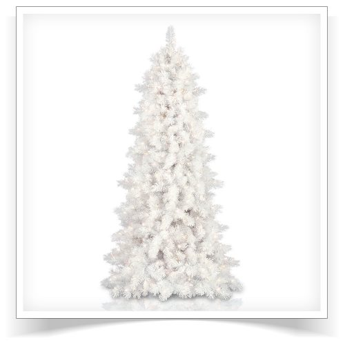7′ Prelit Whisper White Cashmere Artificial Christmas Tree with Clear Lights by Treetopia