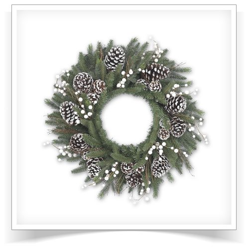 24″ Unlit Winter Harvest Artificial Christmas Wreath by Treetopia