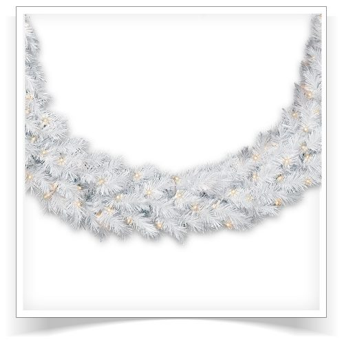 10′ Unlit Winter White Artificial Christmas Garland by Treetopia
