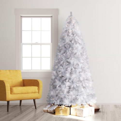 9′ Prelit Winter White Artificial Christmas Tree with Clear Lights by Treetopia