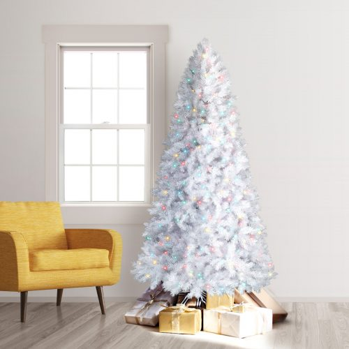8′ Prelit Winter White Artificial Christmas Tree with Multi Lights by Treetopia