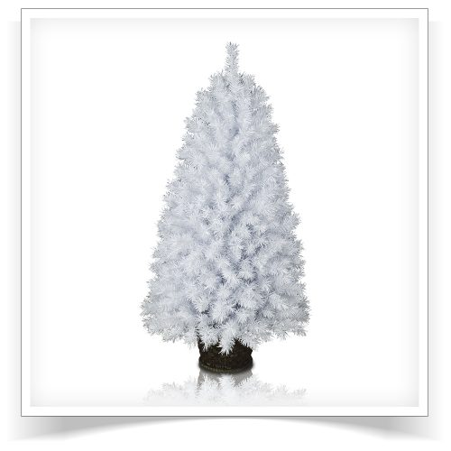 4′ Prelit Winter White Potted Pine Artificial Christmas Tree – Clearance with Clear Lights by Treetopia
