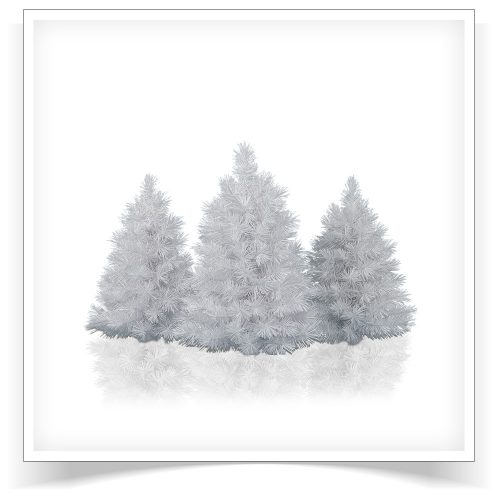 Set of 3 Prelit Winter White Tabletop Trees with Clear Lights by Treetopia
