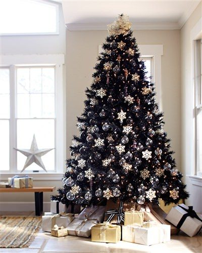9′ Prelit Tuxedo Black Artificial Christmas Tree with Clear Lights by Treetopia