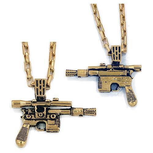 Star Wars Han Solo's Blaster Golden Necklace, Not Mint